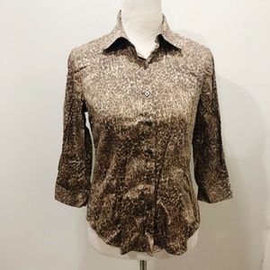 TALBOTS Size 4 Shirt Brown Beige Abstract Cotton